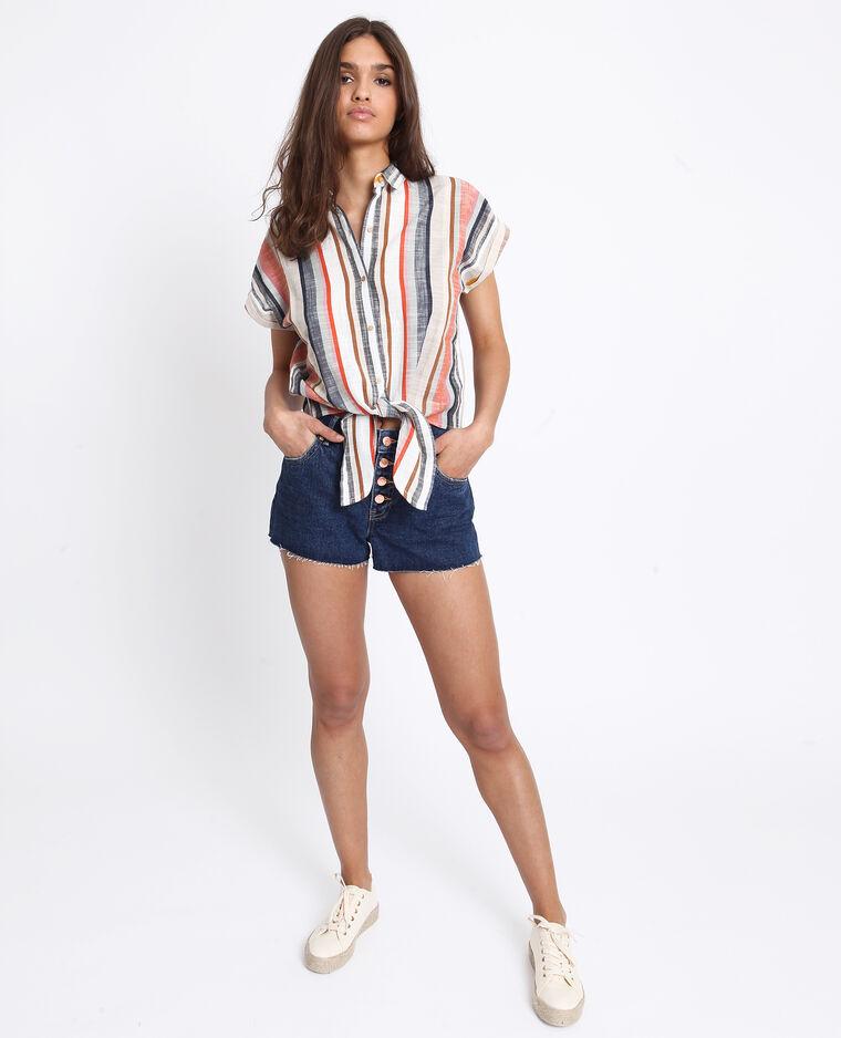 Jeansshort met middelhoge taille donkerblauw