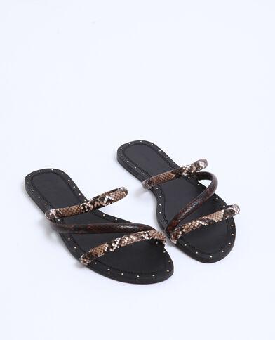 Sandales plates python noir