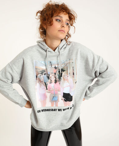 Oversized sweater met kap gemêleerd grijs