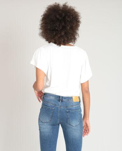 T-shirt met opschrift gebroken wit