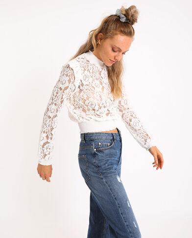 Kanten blouse gebroken wit