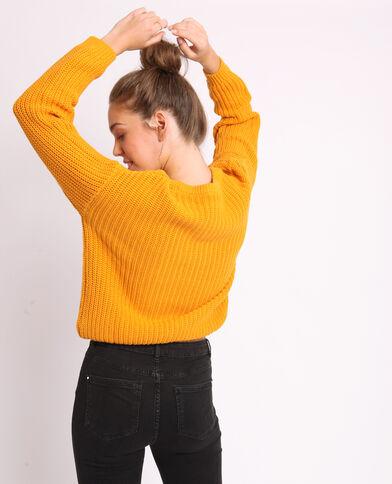 Trui van dik tricot geel