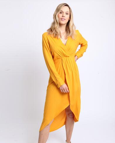 Robe longue fendue jaune