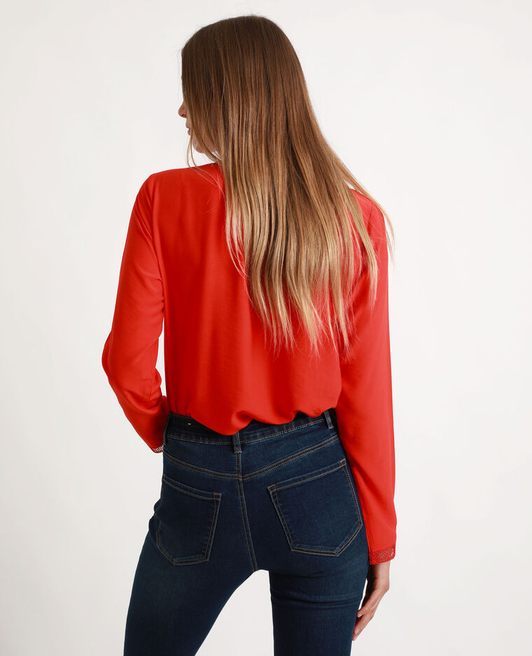 Blouse met V-hals rood
