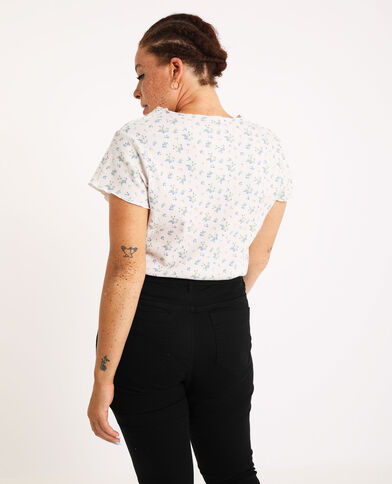 T-shirt met bloemenprint gebroken wit