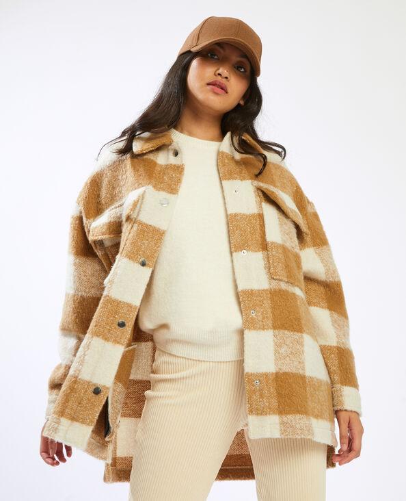 Oversized overhemd met ruitjes beige - Pimkie