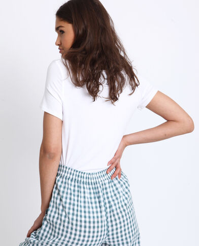 T-shirt à col V blanc