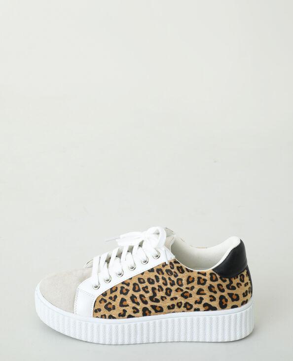Sneakers met luipaardprint taupebeige - Pimkie