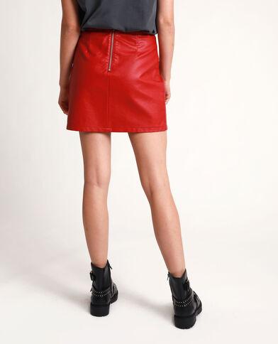 Jupe en faux cuir rouge