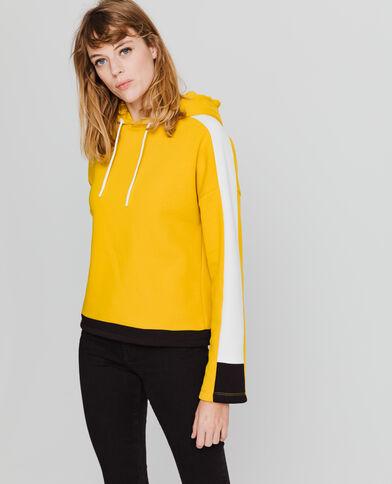 Sportieve sweater met kap geel