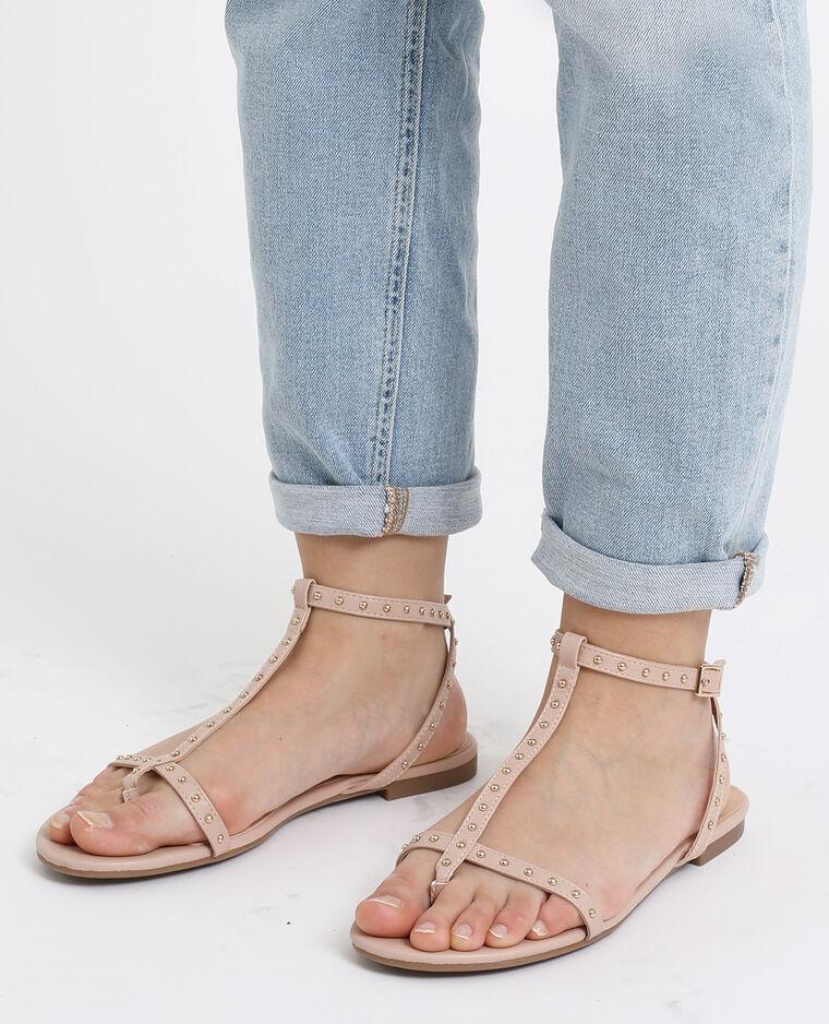 Sandales plates à clous rose nude
