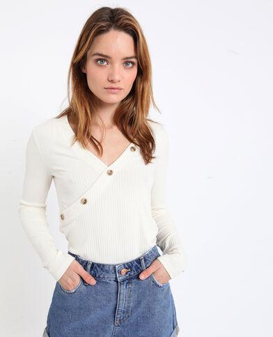 T-shirt en maille cotelée blanc