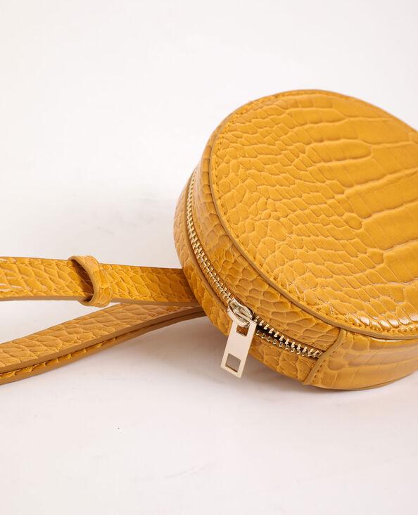 Ronde clutch met riempje geel