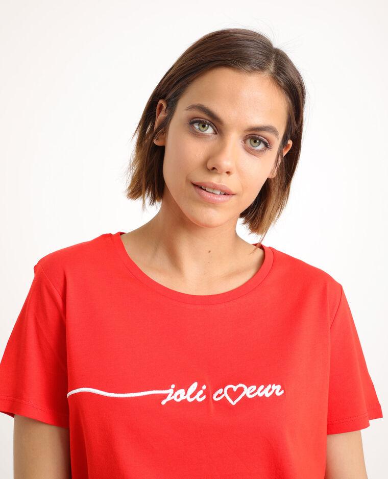 T-shirt brodé rouge