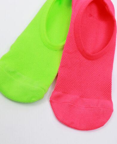Lot de 2 paires de chaussettes basses Jaune fluo
