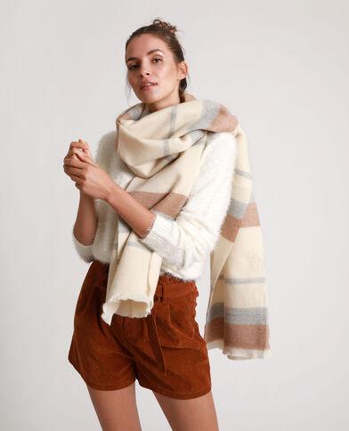 Sjaal met brede strepen kastanjebruin