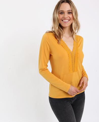Shirt met kant geel