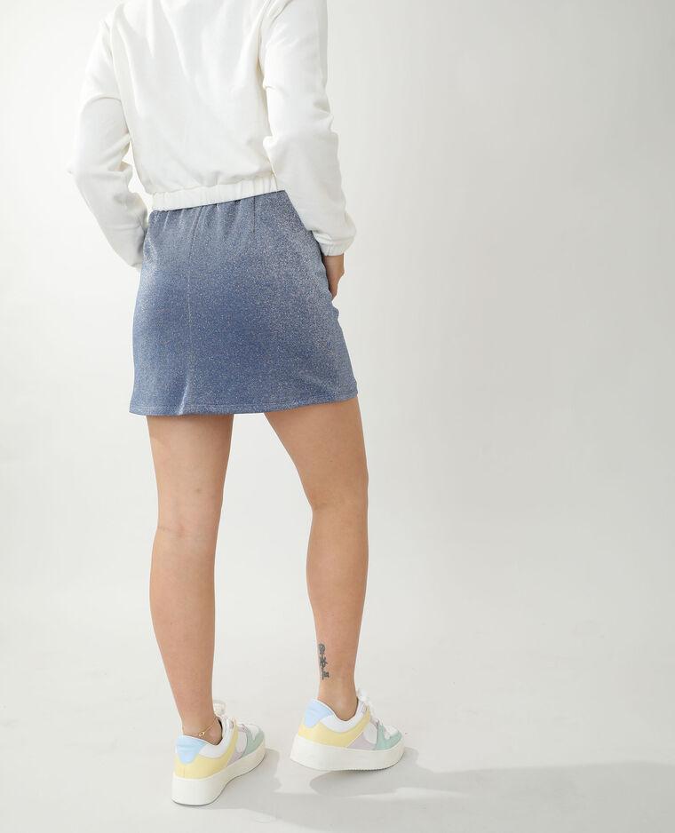 Jupe courte paillettée bleu - Pimkie