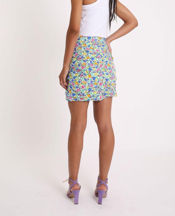 Korte rok met bloemenprint blauw