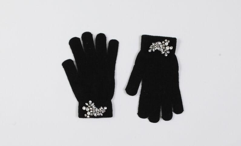 Handschoenen met sieraden zwart