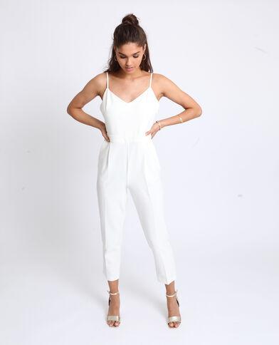 Combi-pantalon à fines bretelles blanc
