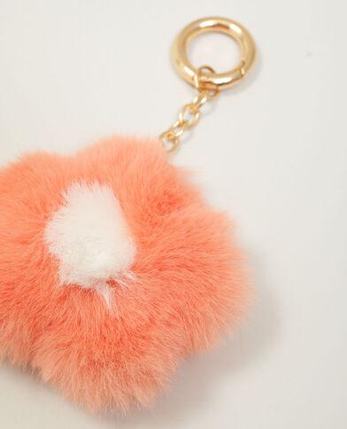 Porte-clef fleur en moumoute orange - Pimkie