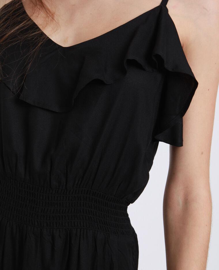 Lange jurk met ruche zwart