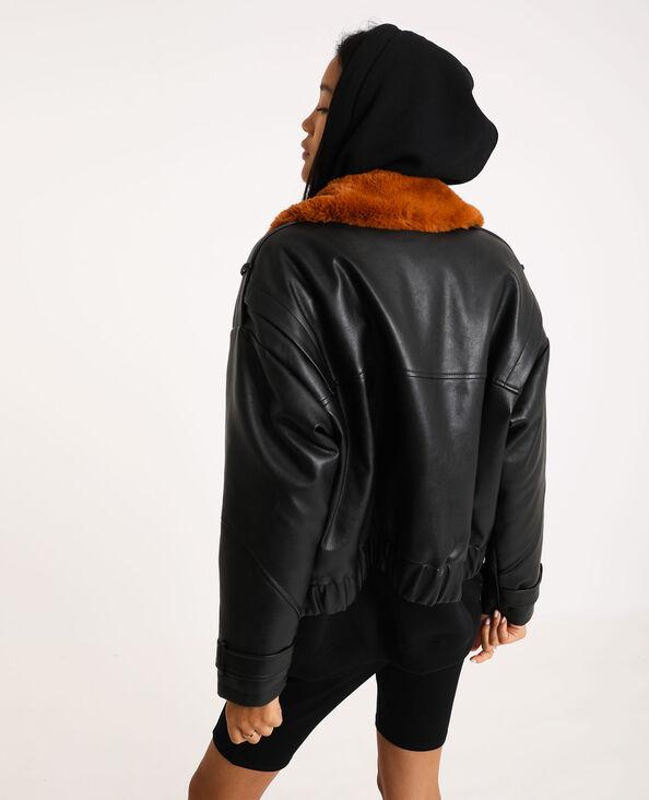 Blouson en simili cuir noir