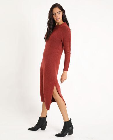 Lange trui-jurk baksteenrood