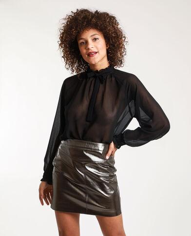 Doorschijnende blouse Stéphanie Durant x Pimkie zwart