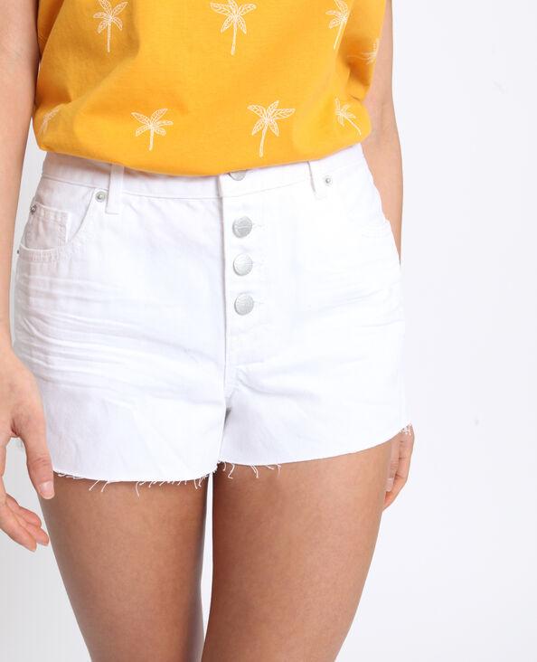 Short en jean mid waist blanc