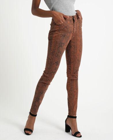 Skinny broek met print kastanjebruin