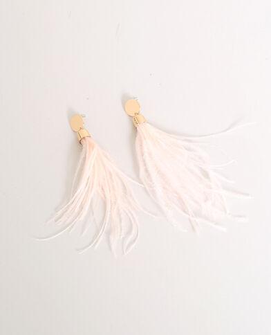 Oorbellen met veren geel