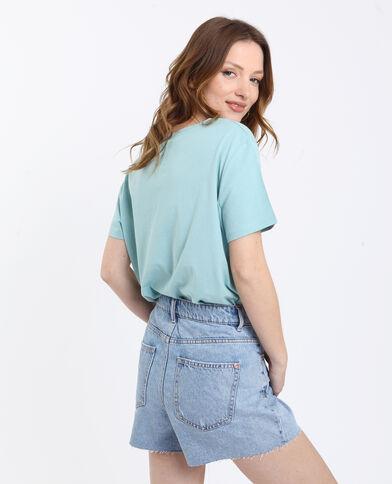 Jeansshort met hoge taille verwassen blauw