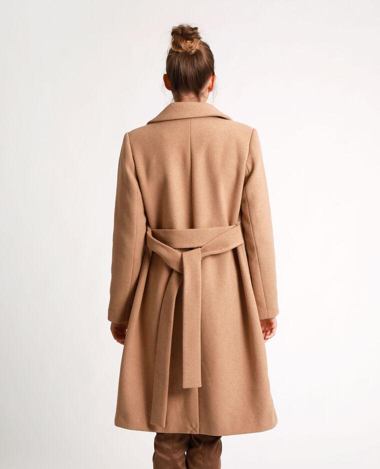 Manteau droit à ceinture caramel