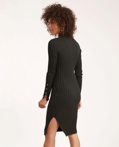 Lange jurk van ribstof kaki