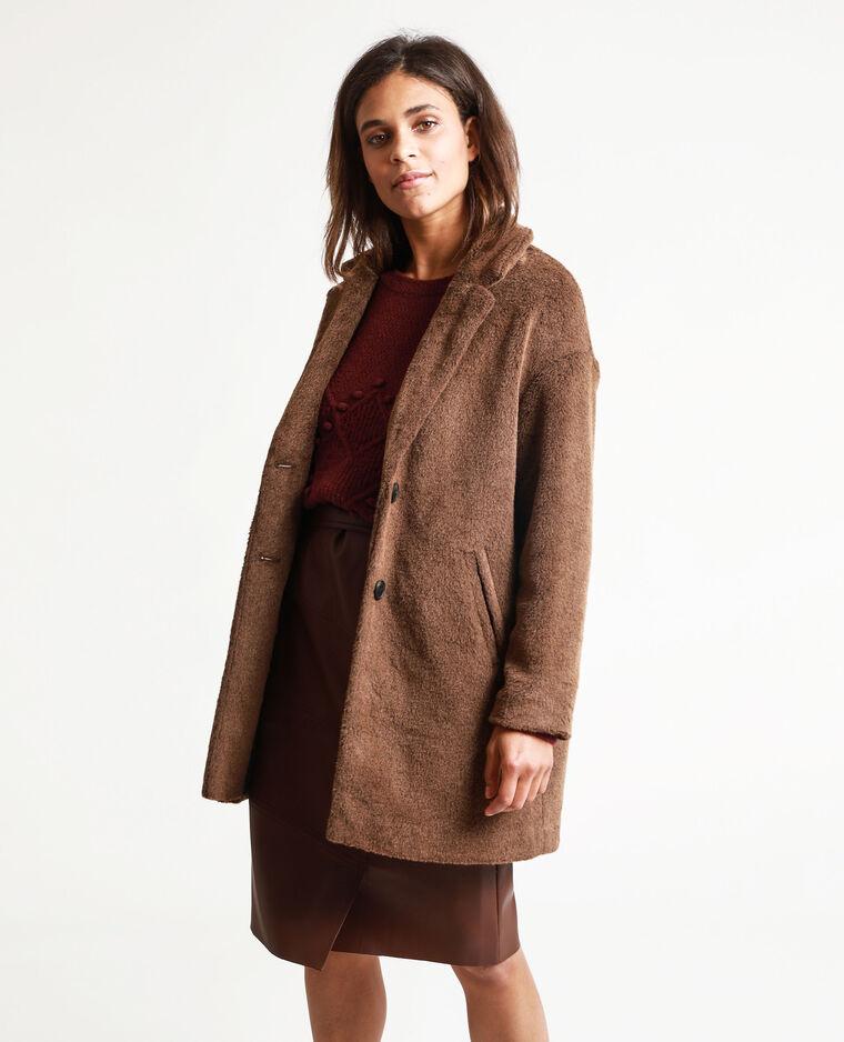 Manteau en fausse fourrure marron