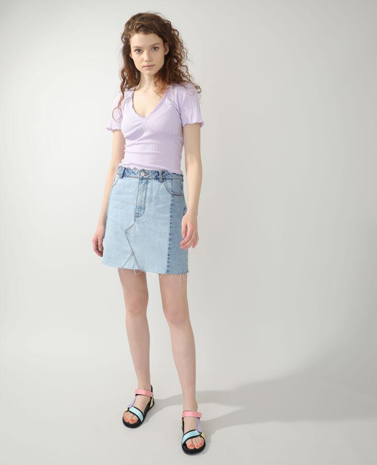 T-shirt côtelé violet - Pimkie