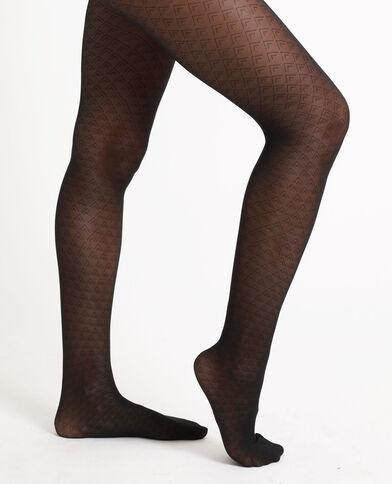 Panty met ruitjes zwart