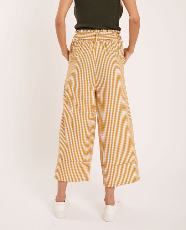 Pantalon large à carreaux jaune