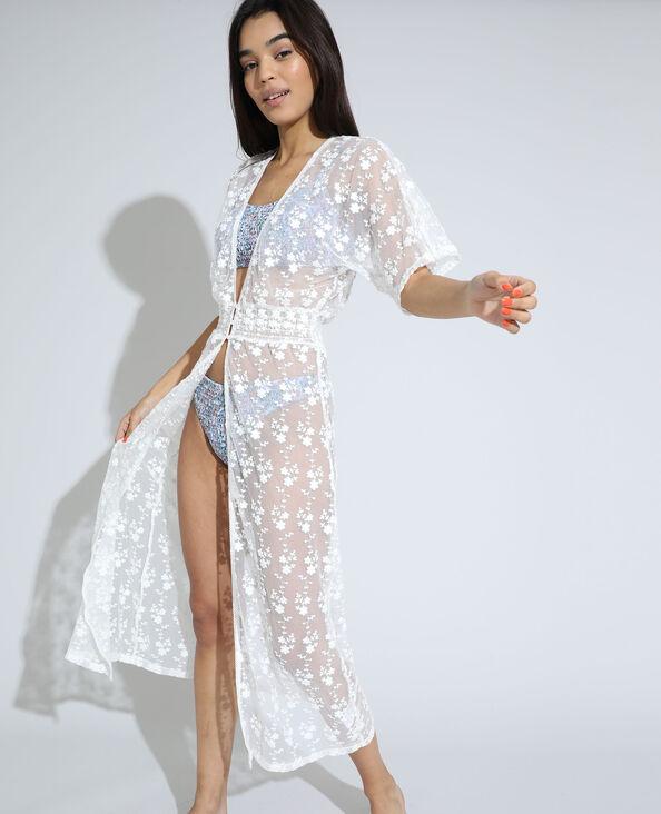 Lange, transparante jurk met borduurwerk wit - Pimkie
