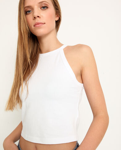 Cropped top uni blanc