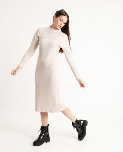 Lange jurk met opstaande kraag beige