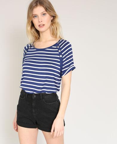 T-shirt met drukknopen marineblauw