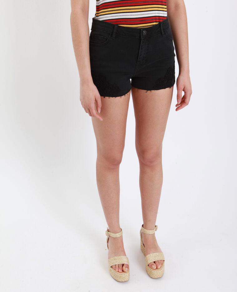 Short met middelhoge taille en borduursels zwart