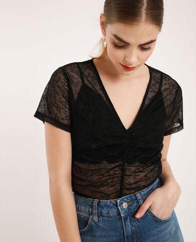 T-shirt brodé transparent noir
