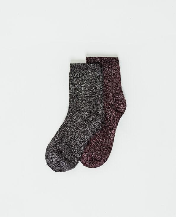 Set van 2 paar lurex sokken zwart
