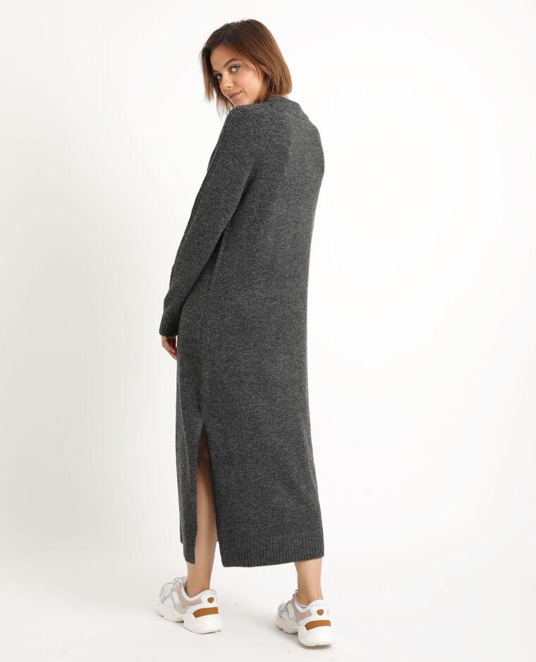 Lange trui-jurk grijs