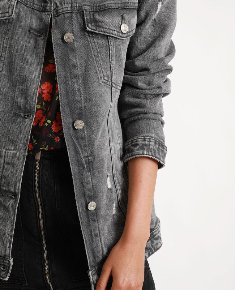 Veste en jean longue gris perle