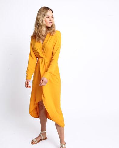 Lange jurk met split geel